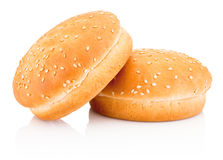 Two hamburger buns with sesame isolated on white background Stock Image