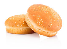 Two hamburger buns with sesame isolated on white background Stock Photography