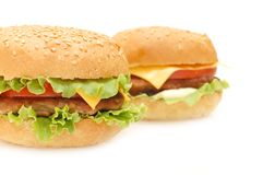Two hamburgers Royalty Free Stock Images