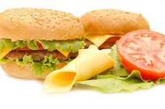 Two hamburgers Stock Images