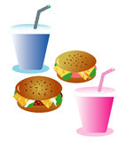 Hamburgers with beverages, eps. Set for pair, objects white isolated royalty free illustration