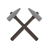 Two hammers crossed with each other Vector illustration. stock images