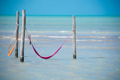 Two Hammock over caribbean sea. Holbox Island near Cancun. Lonel Royalty Free Stock Photo