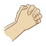 Two Hand Closed Tightly Praying. Vector Illustration Royalty Free Stock Image