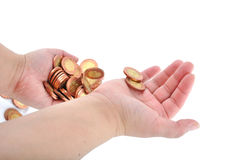 Two hand of coins Stock Images