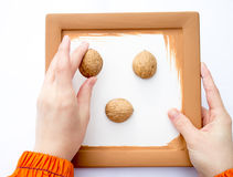 Two hand creating picture with walnut shells. Royalty Free Stock Photos