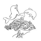 Two hand drawn baby dolphins, jumping on wave. Black and white. Royalty Free Stock Image