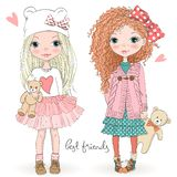 Two hand drawn beautiful cute little girls with Teddy bears on the background with the inscription best friends. Vector illustration royalty free illustration
