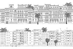 Two hand drawn seamless city banners of Middle Eastern houses Stock Photo