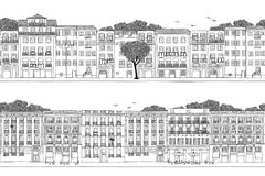 Spanish and Portuguese style houses. Two hand drawn seamless city banners - Spanish and Portuguese style houses Stock Photography