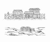 Two hand drawn sketches of landscapes with buildings. Royalty Free Stock Photo