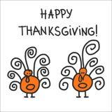 Two hand drawn symbolic turkeys Stock Photography