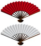 Two hand fans in red and white. Illustration Royalty Free Stock Photography