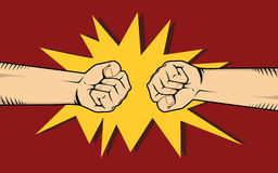 Two hand fighting or clashes illustrate fight among other two thing. Vector Royalty Free Stock Images
