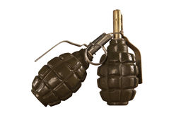 Two hand grenade isolated on white background Royalty Free Stock Photo