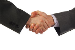 Two hand handshake. Isolated on white Royalty Free Stock Photos