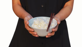 Two hand hold bowl of rice Stock Photos