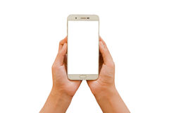 Two hand hold smartphone. White screen and white background - isolated Royalty Free Stock Photos