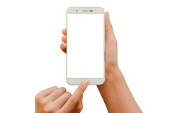 Two hand hold smartphone. White screen and white background - isolated Stock Image