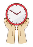 Two Hand Holding A Clock Stock Photos