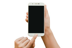 Two hand holding smartphone mock up. For presentation Royalty Free Stock Photo