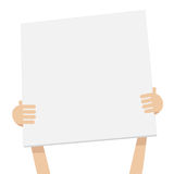 Two Hand holding white empty banner, paper stock illustration