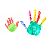 Two hand imprints Royalty Free Stock Images