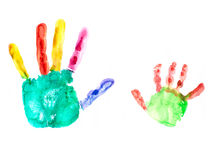 Two hand imprints Stock Image