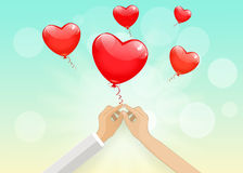 Two hand keep red balloons on the blue sky background.  Greeting. Card. Vector EPS 10 Stock Photography