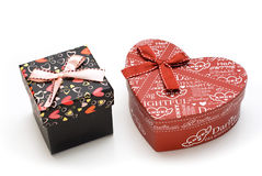 Two hand-made gift box in white background Royalty Free Stock Images