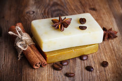 Two hand made soap with spices Royalty Free Stock Photo