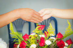 Two hand of man and woman in one union Royalty Free Stock Image