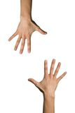Two hand open. Facing one another Stock Images