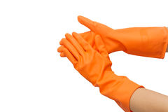 Two hand with orange glove Stock Images