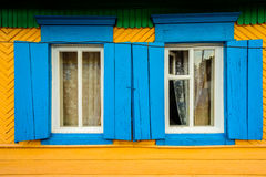 Two Hand Painted Window Frames Royalty Free Stock Photos