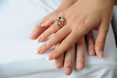 Two hand and ring Royalty Free Stock Photo
