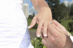 Two hand with ring of new married. Couple Stock Photo