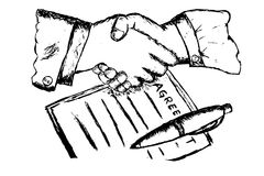 Two hand shaking after make a business agreement Stock Image