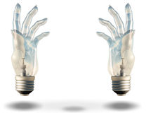 Two hand shaped bulbs frame space Royalty Free Stock Image