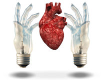 Two hand shaped light bulbs frame heart Stock Photo