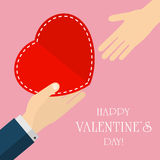 Two hand and Valentines heart Stock Image