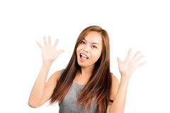 Two Hand Wave Asian Girl Greeting Friends Half Royalty Free Stock Image