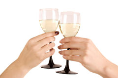 Two hand with wine glasses Stock Image