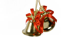 Two handbells. On a white background stock photography