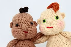 Two Handcrafted Baby Dolls Close-Up Stock Photo