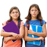 Two handicapped students with notebooks. Royalty Free Stock Images