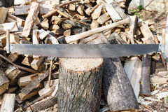 Two-handled saw and ax in chopping block Stock Photography