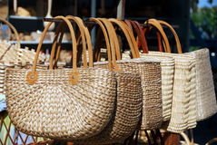 Two handled wicker bags Stock Photos