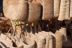 Two handled wicker bags Royalty Free Stock Photography