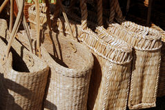Two handled wicker bags Stock Images